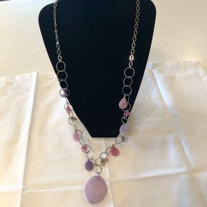 LOFT silver metal and pink beaded necklace